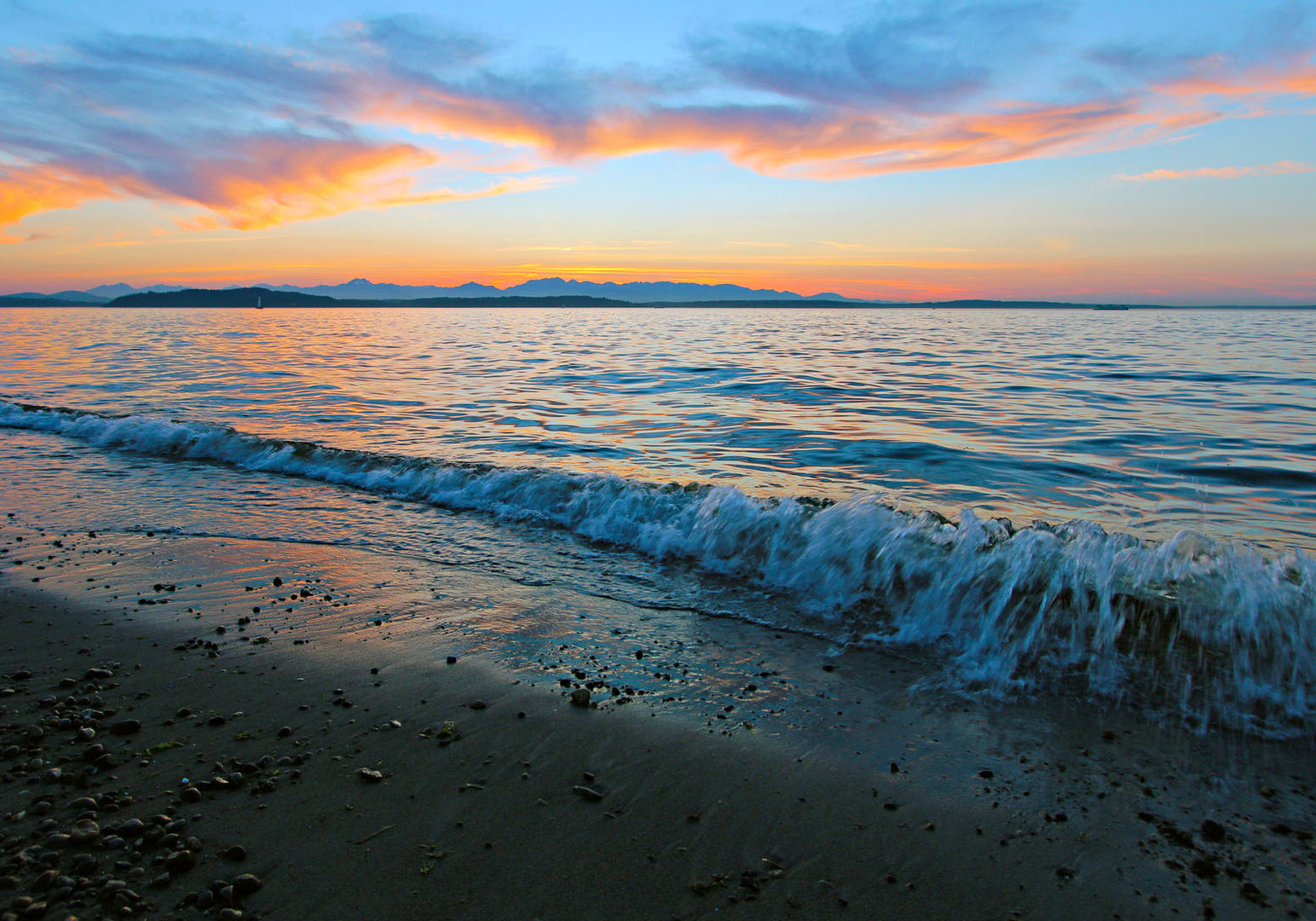 Sunset on Alki Beach, Seattle